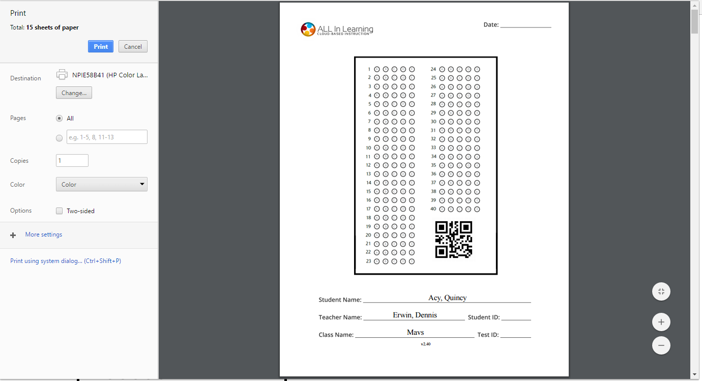 Blank or Missing Bubble Sheets When Printing with Chrome