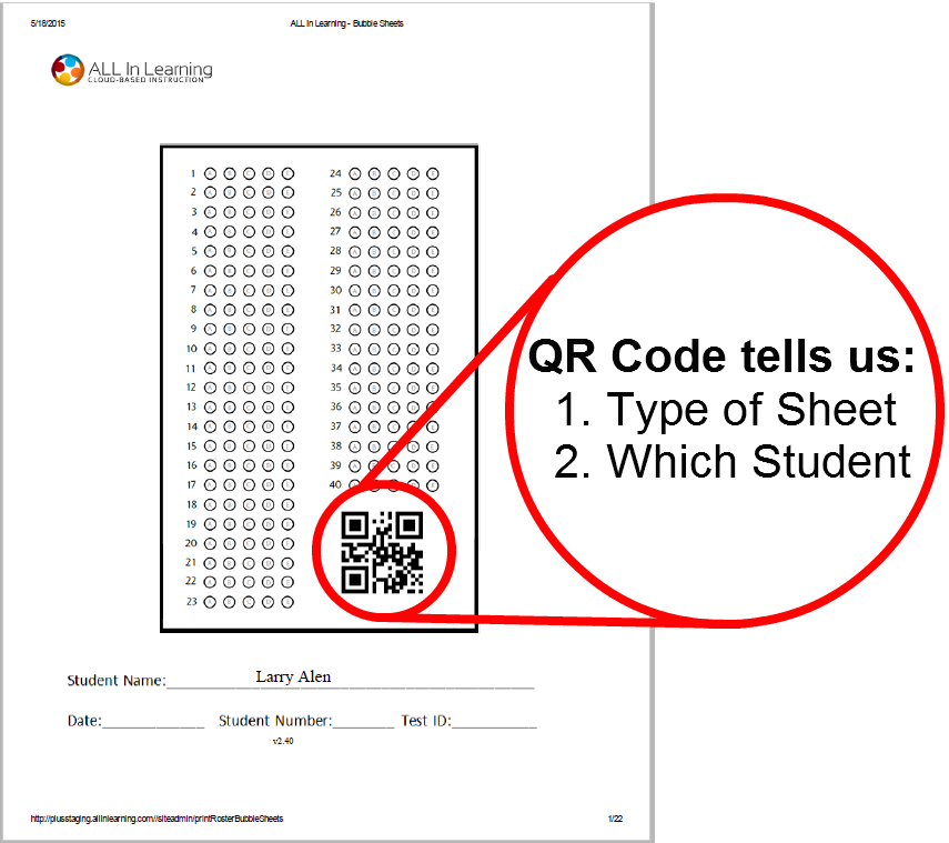 What does the QR code do on bubble sheets and Engage & Learn ID